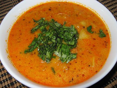 Pumpkin and Chorizo Soup with Cilantro