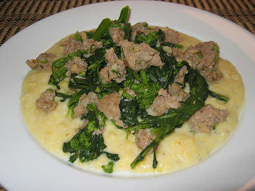 Suasage and Rapini on Gorgonzola Polenta