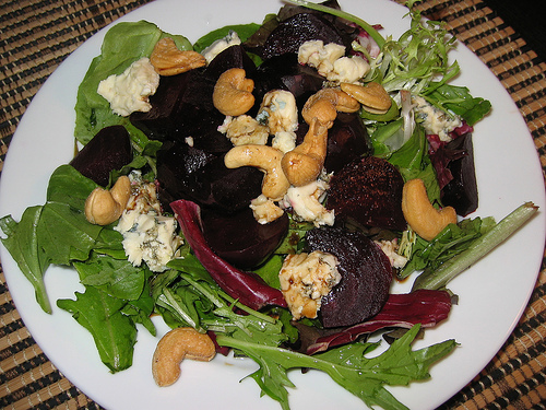 Roasted Beet Salad with Blue Cheese and Cashews