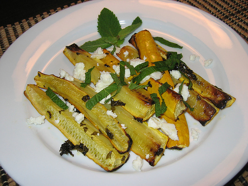 Oven Roasted Zucchini with Mint and Feta
