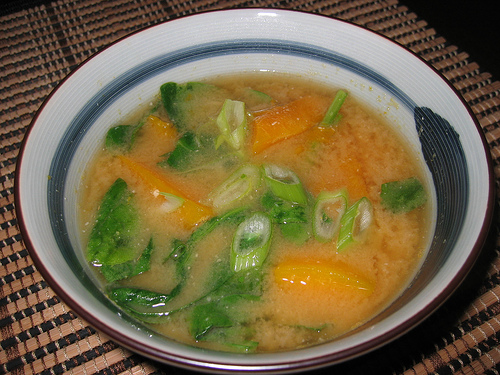 Kabocha and Spinach Miso Soup