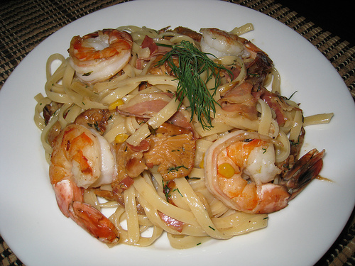 Shrimp and Mushroom Fettuccine with Corn and Pancetta
