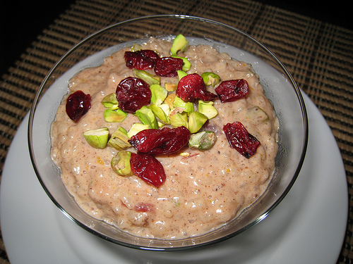 Rice Pudding with Cranberries and Pistachios
