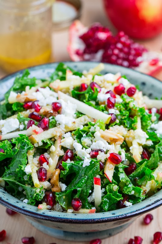 Apple and Pomegranate Quinoa and Kale Salad with Feta in a Curried Maple Dijon Dressing