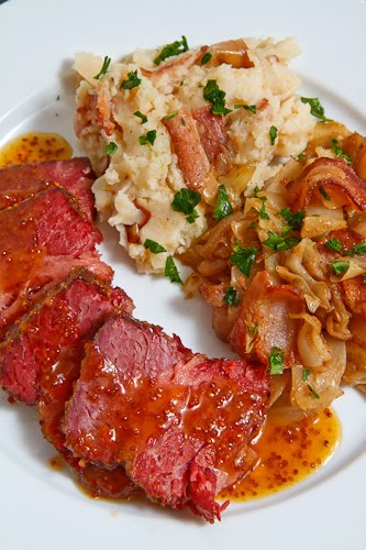 Apricot Glazed Corned Beef with Colcannon and Sauteed Cabbage