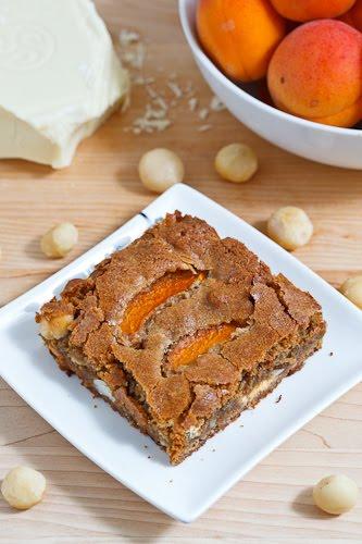 Apricot White Chocolate and Macadamia Nut Blondies