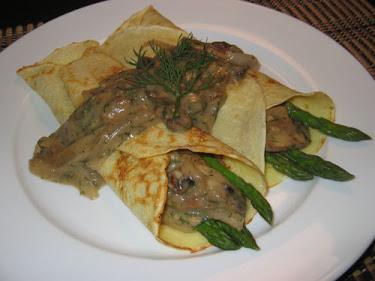 Asparagus Crepes with Mushroom Dill Sauce