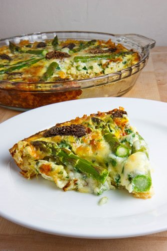 Asparagus, Morel and Ramp Quiche with a Brown Rice Crust