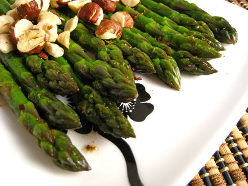Asparagus with Garam Masala, Butter and Toasted Hazelnuts
