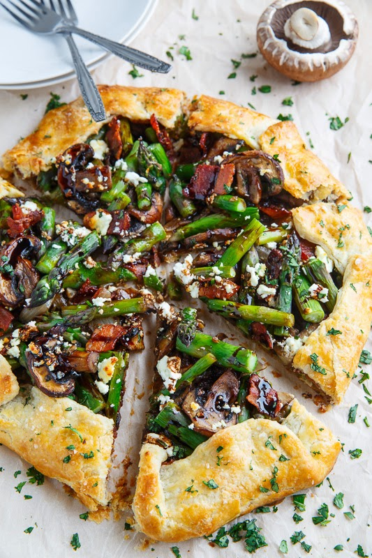 Asparagus and Mushroom Galette with Bacon, Goat Cheese and Balsamic Reduction