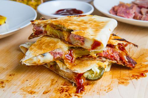 BBQ Ham, Bacon and Pineapple Quesadillas (aka BBQ Hawaiian Pizza Quesadillas)