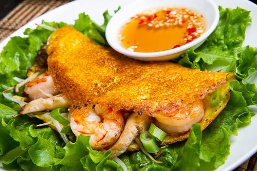 Bánh Xèo (Savoury Vietnamese Crepes Stuffed with Shrimp and Mushrooms)