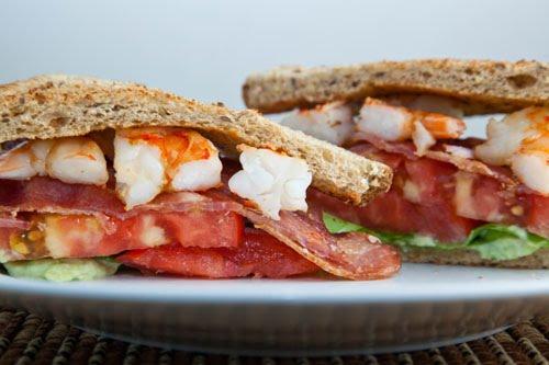 BLAST (Bacon, Lettuce, Avocado, Shrimp and Tomato) Sandwich