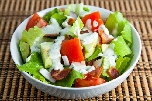 BLT Salad with Avocados and a Blue Cheese Dressing