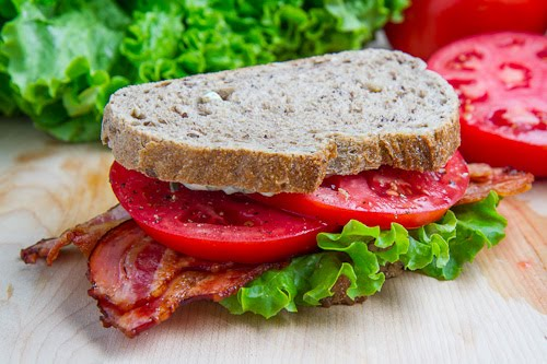 BLT (Bacon Lettuce and Tomato) Sandwich with Basil Mayo