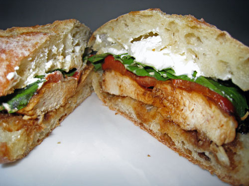 Balsamic Glazed Chicken Sandwich with Roasted Red Peppers and Goat Cheese