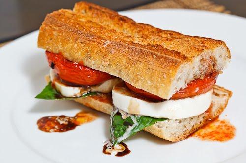 Balsamic Roasted Tomato Caprese Sandwich