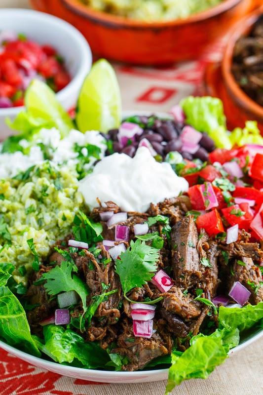 Barbacoa and Avocado Cilantro Lime Rice Burrito Salad Bowl