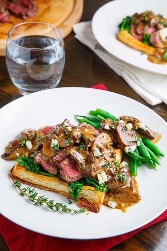 Beef Wellington Tarts with Mushroom Blue Cheese Sauce