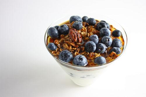 Blueberry and Maple Pecan Granola Parfait