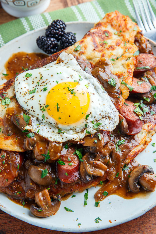 Boxty (Irish Potato Pancakes) with Bangers in a Guinness Mushroom and Onion Gravy