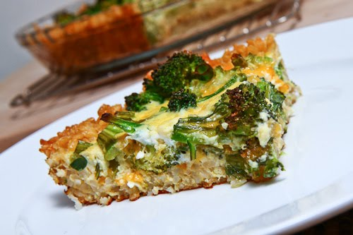 Broccoli and Cheddar Quiche with a Brown Rice Crust