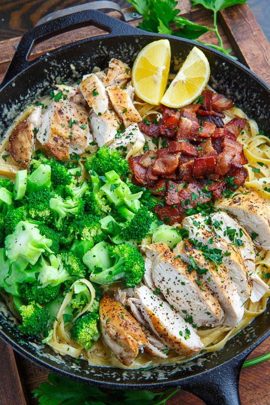 Broccoli and Bacon Chicken Alfredo Linguine