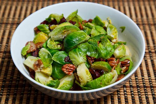 Brussels Sprouts with Bacon, Cranberries and Pecans