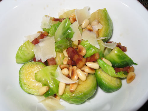 Brussels Sprouts with Pancetta, Pine Nuts and Parmigiano Reggiano
