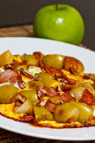 Caramelized Apple and Gorgonzola Omelette with Bacon and Pecans