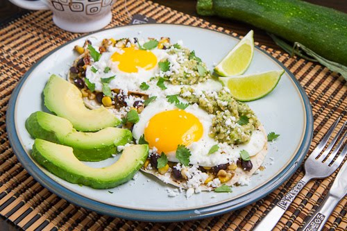 Corn and Black Bean Huevos Rancheros with Roast Zucchini Salsa