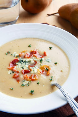 Caramelized Pear and Blue Cheese Soup