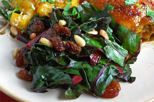 Chard Sauteed with Raisins and Pine Nuts