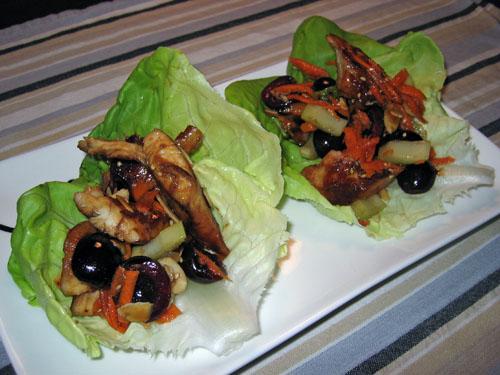 Cherry Teriyaki Chicken Lettuce Wraps