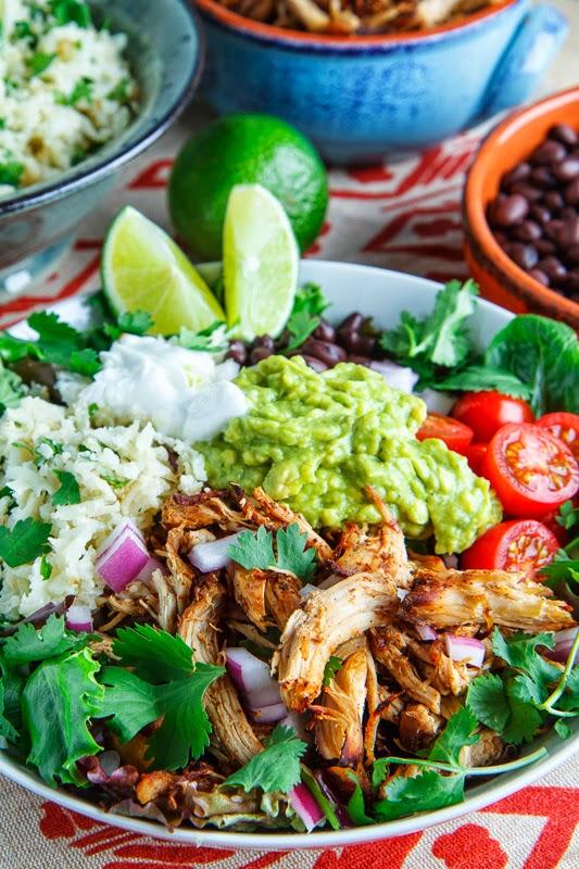Chicken Carnitas Burrito Bowl with Cilantro Lime Cauliflower Rice
