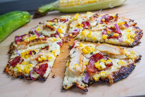Chicken Corn Chowder Zucchini Crust Pizza