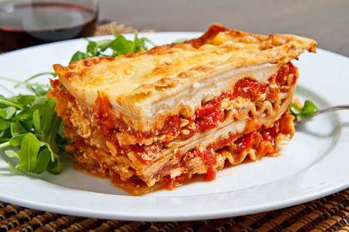 Chicken, Roasted Red Pepper and Goat Cheese Lasagna