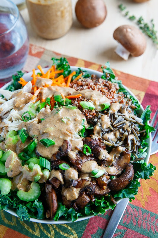 Chicken and Wild Rice Kale Salad in a Creamy Asiago Balsamic Dressing