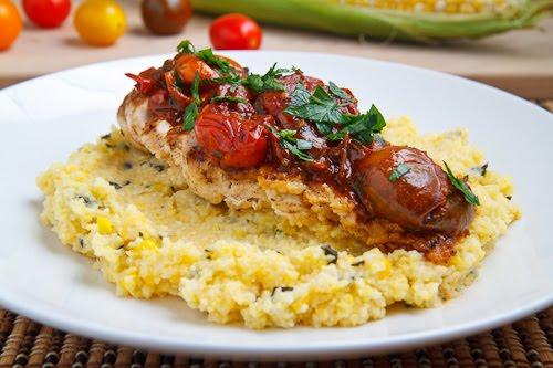 Chicken with Cherry Tomato Pan Sauce on Fresh Corn and Basil Polenta