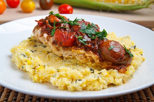 Chicken with Cherry Tomato Pan Sauce on Fresh Corn and Basil Polenta