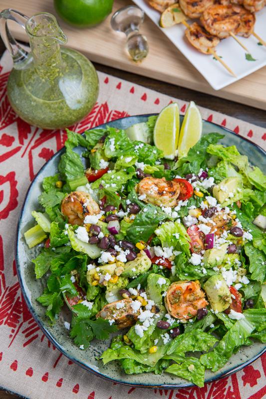 Chipotle Lime Grilled Shrimp Salad in Cilantro Lime Dressing