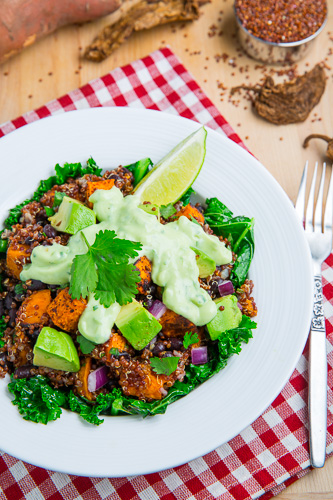 Chipotle Roast Sweet Potato and Black Bean Quinoa Salad with Creamy Avocado Dressing