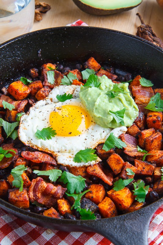 Chipotle Sweet Potato and Black Bean Hash with Guacamole