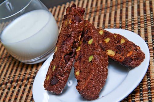 Chocolate and Pistachio Biscotti