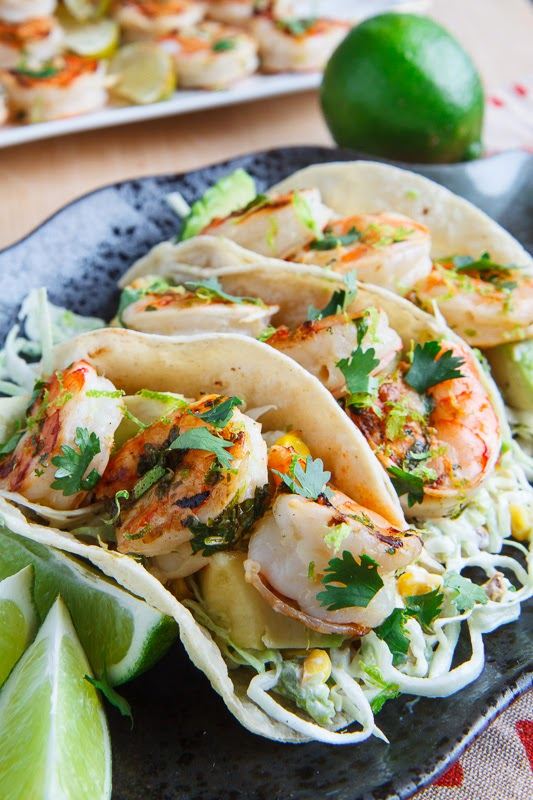 Cilantro Lime Shrimp Tacos with Roasted Corn and Jalapeno Slaw and Roasted Jalapeno Crema