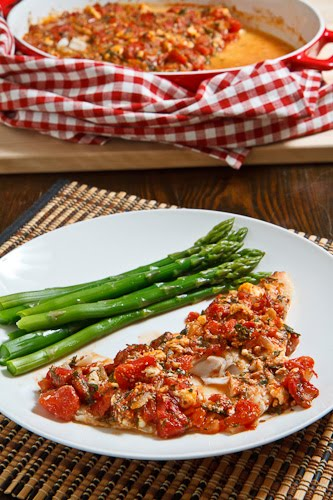 Cod Baked in a Tomato and Feta Sauce