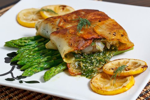 Cod Wrapped in Crispy Potatoes with a Dill and Caper Sauce