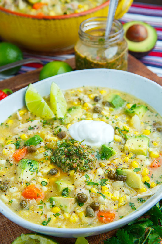 Colombian Chicken and Corn Soup (Ajiaco)