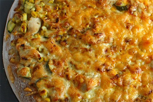 Corn, Zucchini and Chicken Pizza