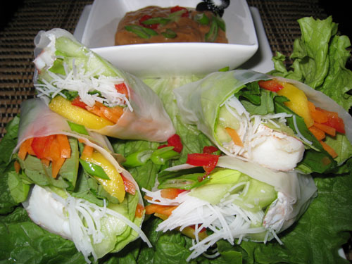 Crab Summer Rolls with Cashew Butter Dipping Sauce